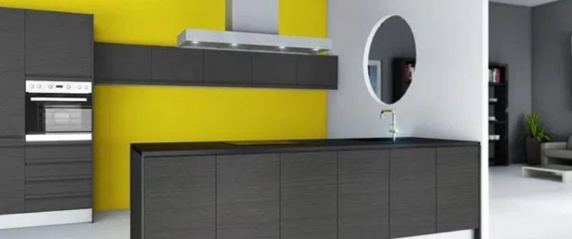 cocina moderna de amarillo