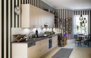 diseño de cocina con rayas