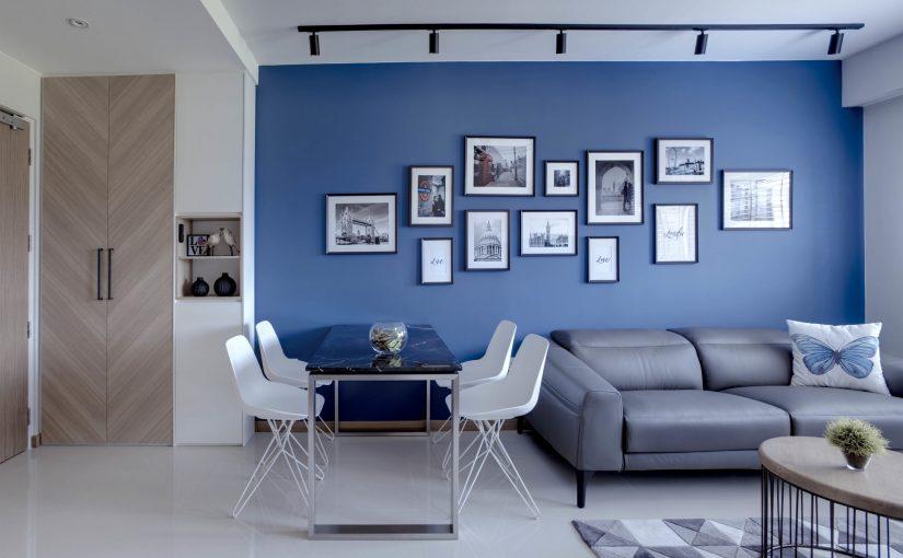 sala minimalista color azul