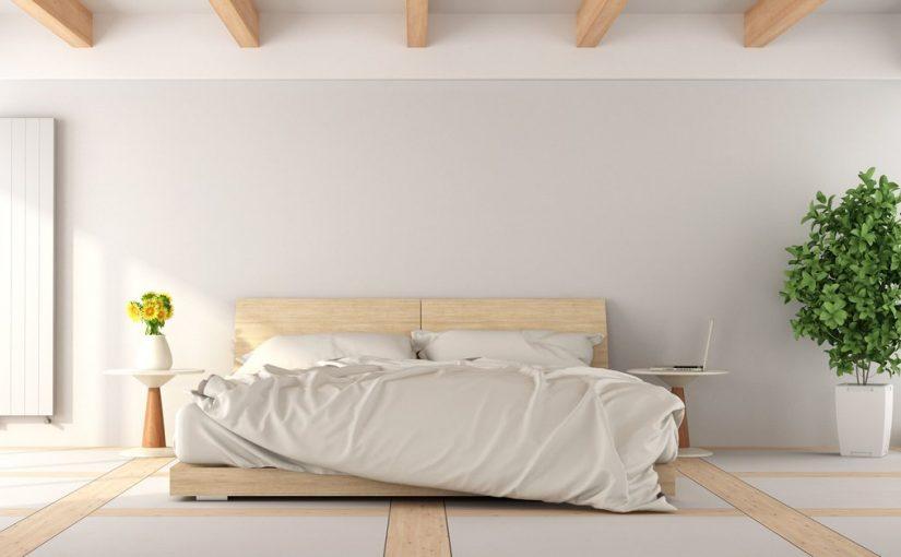 dormitorio con diseño oriental color gris pálido